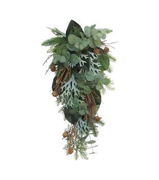 Handmade Holiday Twig, Green Stag, Eucalyptus & Pine Teardrop Wreath
