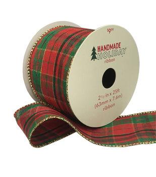 Handmade Holiday Christmas Ribbon 2.5''x25'-Red, Green & Gold Plaid