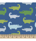 Snuggle Flannel Fabric -Alligators Blue Green