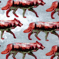 Snuggle Flannel Fabric-Double Exposure Wolves
