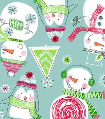 "Snuggle Flannel Fabric 42""-Scribbled Snowmen"