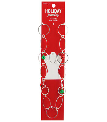 hildie & jo Christmas Holiday Jewelry 24'' Circles with Bells Necklace