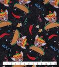 Novelty Cotton Fabric-Taco Dogs on Black