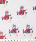 Keepsake Calico Holiday Cotton Fabric 43\u0022-Snowmen With Glitter
