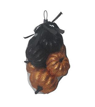 Maker's Halloween 8 pk Glitter Pumpkins in Bag-Black & Orange