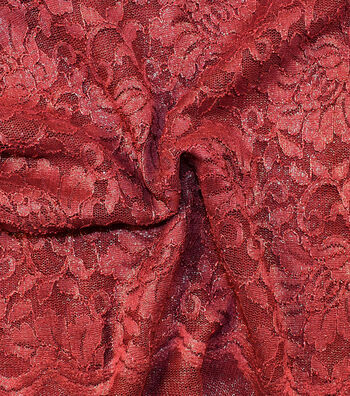 "Casa Collection Stretch Lace Fabric 54""-Tawny Port"