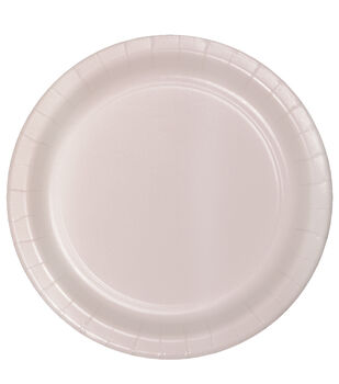 8ct Large Paper Plate-Pearlized Blush