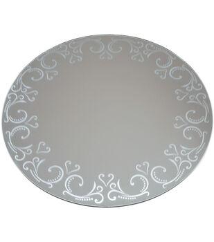 Darice 12'' Round Pattern Edge Glass Mirror