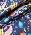 Doodles Juvenile Apparel Fabric -Mermaid Pucker on Blue