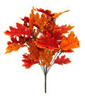 Blooming Autumn Oak Leaves & Berries Bush-Yellow & Orange