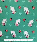 Doodles Juvenile Apparel Fabric 57\u0027\u0027-Unicorn & Floral Interlock on Green