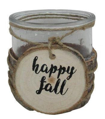 Blooming Autumn Glass Container with Laser Cut Tag-Happy Fall
