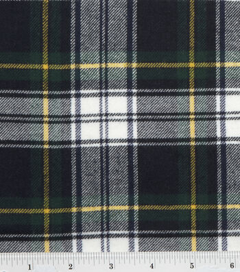 Fashion Flannel Shirting Fabric -Navy & Green Classic Check
