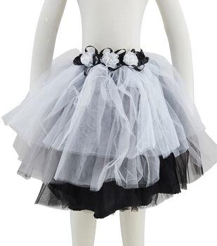 Maker's Halloween Child Costume-Tutu Black Flowers Short