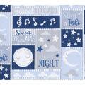 Nursery Flannel Fabric-Light Blue Good Night Patch with Stars