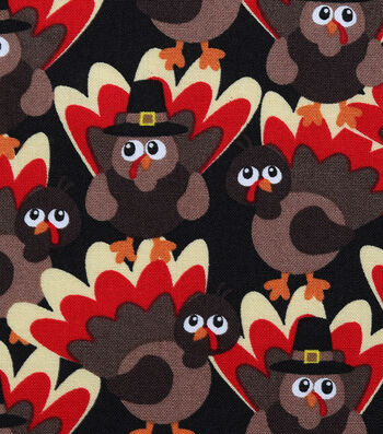 "Harvest Cotton Fabric 44""-Packed Turkeys"