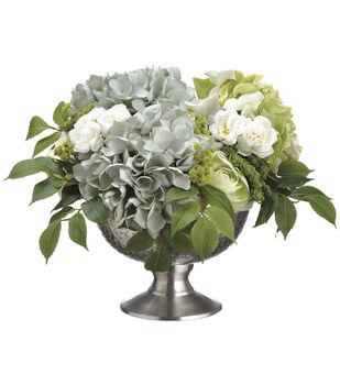 Hydrangeas, Ranunculi & Sedums in Aluminum Bowl 12''-Gray & Green