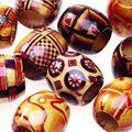 Darice Big Value! 16mm Printed Wood Barrell Beads-24PK/Wood