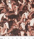 Snuggle Flannel Fabric 42\u0022-Running Horses Brown