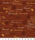 Harvest Cotton Fabric -Thanksgiving Words Rust