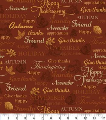 "Harvest Cotton Fabric 43""-Thanksgiving Words Rust"