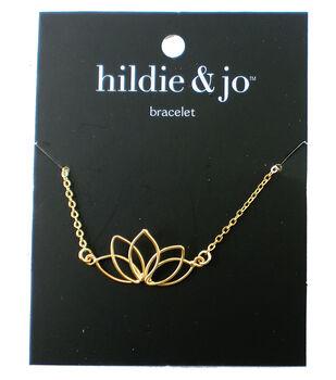 hildie & jo 8'' Metal Open Lotus Flower Bracelet-Gold