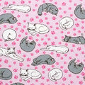 Super Snuggle Flannel Fabric-Sleeping Cats on Pink