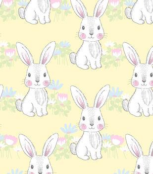 Nursery Flannel Fabric-Bunny Yellow