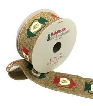 Handmade Holiday Christmas Ribbon 1.5''x30'-Lanterns on Natural