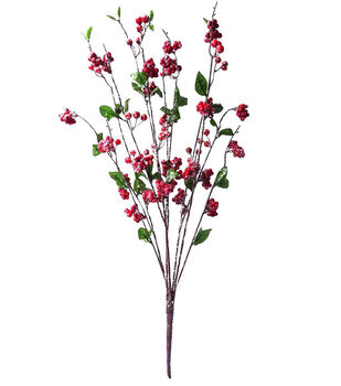 Handmade Holiday Christmas Flocked Berry Bush-Red