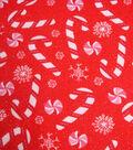 Maker\u0027s Holiday Fleece Fabric 42\u0022-Candy Canes