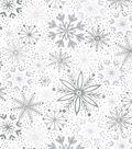 Christmas Cotton Fabric-Foil Snowflakes on White