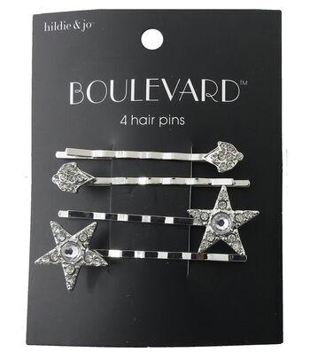 hildie & jo Boulevard 4 Pack Star & Diamond Silver Hair Pins