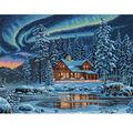 Dimensions 16\u0022x12\u0022 Counted Cross Stitch-Aurora Cabin