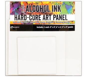 "Tim Holtz Alcohol Ink Hard Core Art Panel 3/Pkg-Square 4''X4'', 6''X6"""