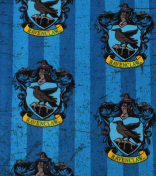 Harry Potter Fleece Fabric 58''-Ravenclaw Crest on Stripes