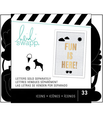 Heidi Swapp 33 pk Letterboard Icons-Black Everyday