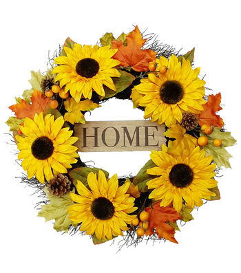 Blooming Autumn 22'' Sunflower Wreath-Home