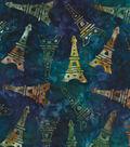 Legacy Studio Batik Cotton Fabric -Eiffel Tower on Blue
