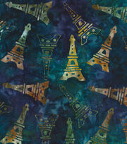 Legacy Studio Batik Cotton Fabric -Eiffel Tower on Blue, , hi-res