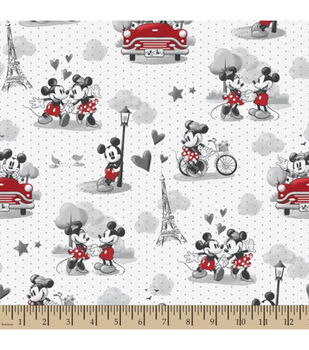 defbbfd74 Disney Mickey & Minnie Mouse Cotton Fabric -Vintage Romance