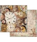 Stamperia 10 pk 12\u0027\u0027x12\u0027\u0027 Cardstock-Clockwise Clocks with Mechanism