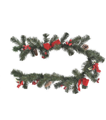 Blooming Holiday Christmas Pine, Pinecone, Berry & Red Bow Garland