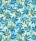 Snuggle Flannel Fabric -Blue & Green Foliage