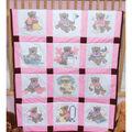 Fairway Stamped Baby Quilt Blocks Girl Bears