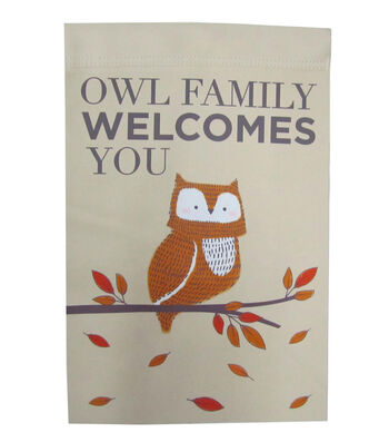 Simply Autumn 12''x18'' Flag-Owl Family Welcomes You