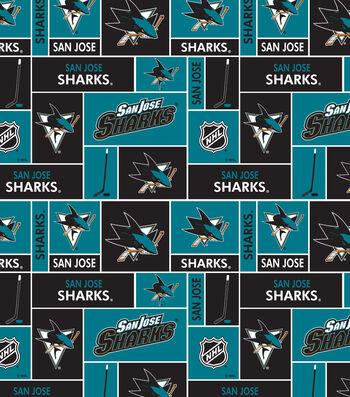 San Jose Sharks Fleece Fabric -Block