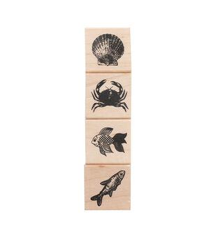 American Crafts Wooden Stamp Set Sea Animals