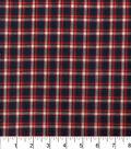 Homespun Cotton Fabric  -Red Navy Plaid