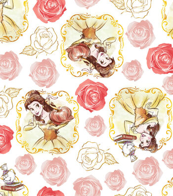 "Disney Beauty & The Beast Cotton Fabric 43""-Belle Framed"